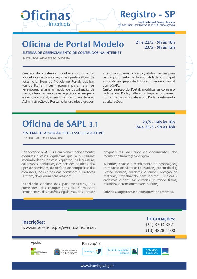 Oficina Interlegis De Portal Modelo E Sapl Em Registrosp