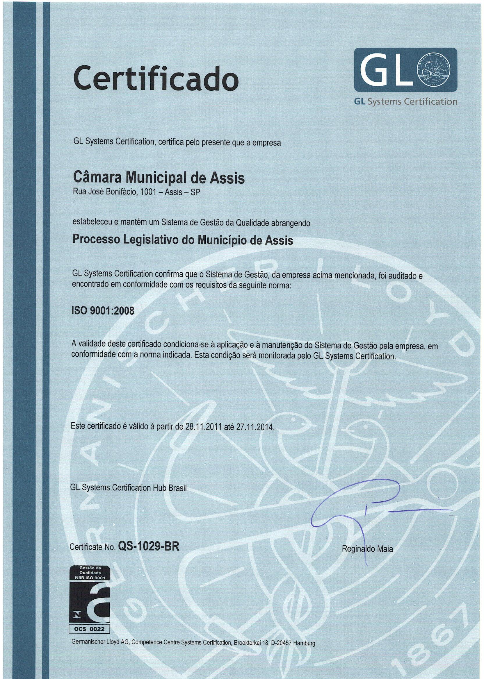 ESPECIAL - Câmara de Assis recebe certificado ISO 9001, com uso de sistema desenvolvido no Interlegis