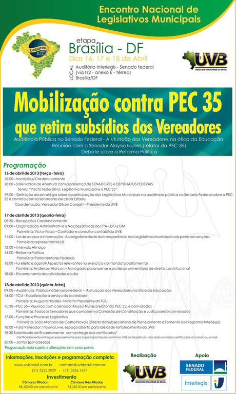 Mobilização nacional de vereadores receberá 200 representantes em Brasília