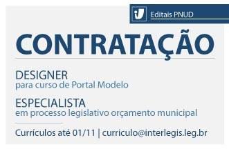 Contratações temporárias: designer para curso de Portal Modelo e especialista em Legislação Orçamentária Municipal