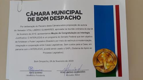 Câmara de Bom Despacho aprova congratulações ao Programa Interlegis