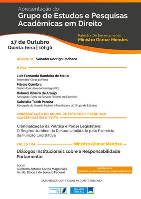 PALESTRA NO INTERLEGIS DISCUTE RESPONSABILIDADE PARLAMENTAR E CRIMINALIZAÇÃO DA POLÍTICA
