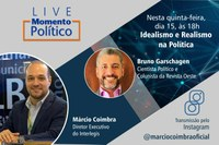 Realismo e Idealismo político será tema da Live Momento Político