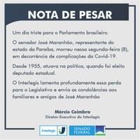 Interlegis divulga nota de pesar pela morte do senador José Maranhão