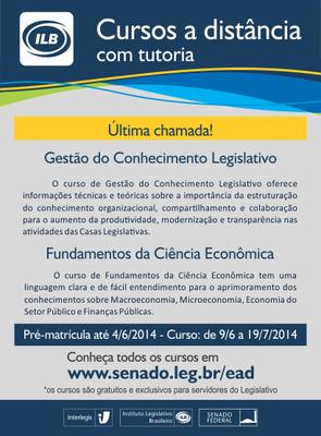 Cursos de Gestão do Conhecimento legislativo e de Fundamentos da Ciência Econômica